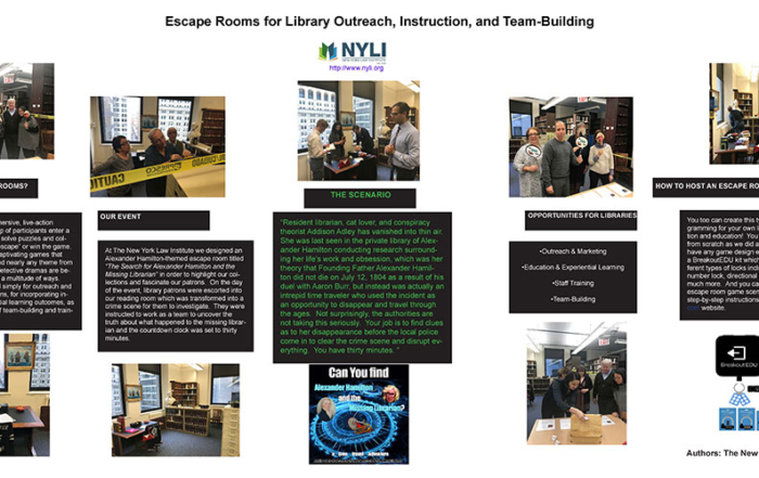 NYLI Escape Rooms Poster at AALL