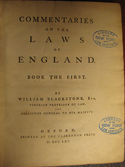 Blackstone's Commentaries, 1st Edition
